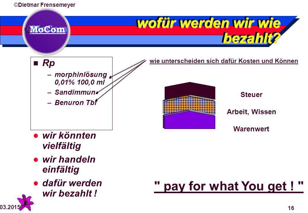  MoCom ©Dietmar Frensemeyer 29.03.2015 16 wofür werden wir wie bezahlt.