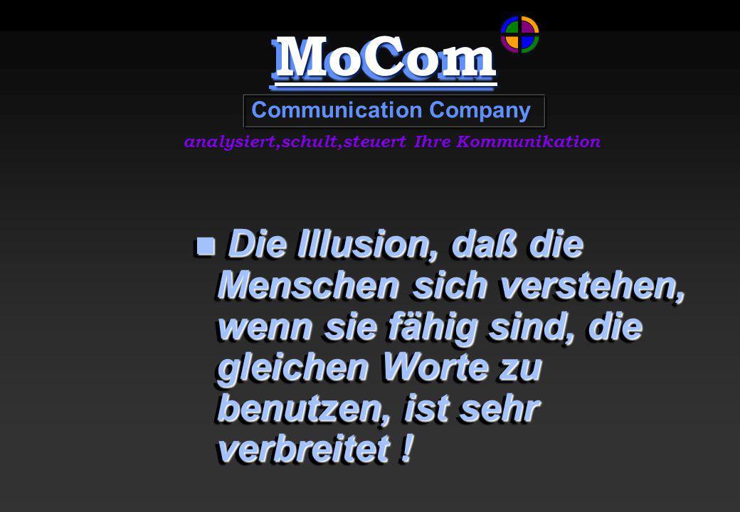 MoComMoCom Communication Company analysiert,schult,steuert Ihre Kommunikation Die Illusion, daß die Menschen sich verstehen, wenn sie fähig sind, die gleichen Worte zu benutzen, ist sehr verbreitet .