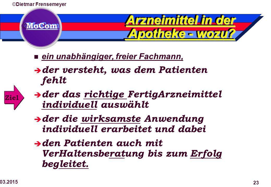  MoCom ©Dietmar Frensemeyer 29.03.2015 23 Arzneimittel in der Apotheke - wozu? ein unabhängiger, freier Fachmann,  der versteht, was dem Patienten f