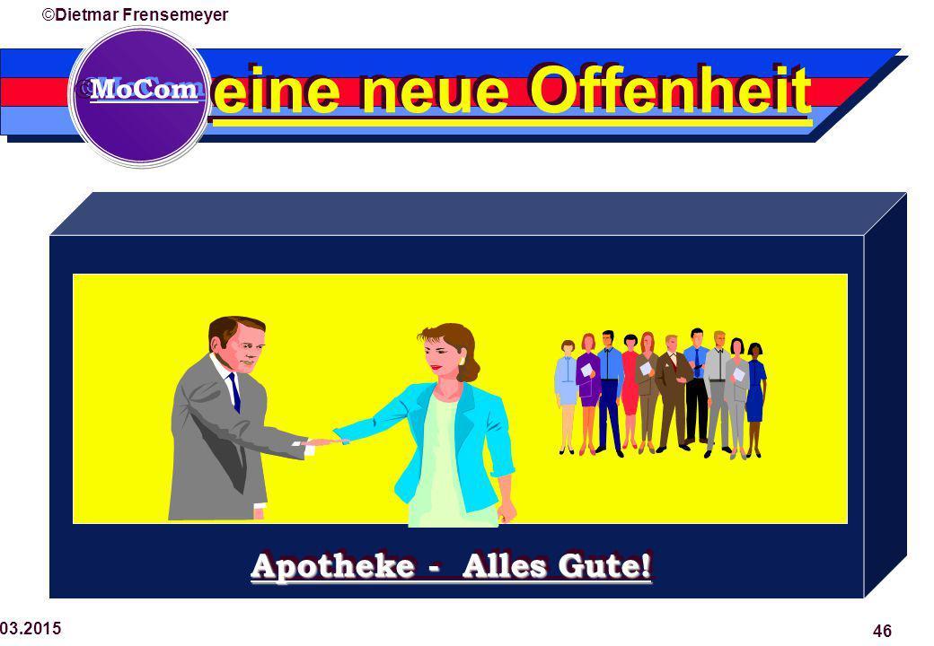  MoCom ©Dietmar Frensemeyer 29.03.2015 46 eine neue Offenheit Apotheke - Alles Gute!