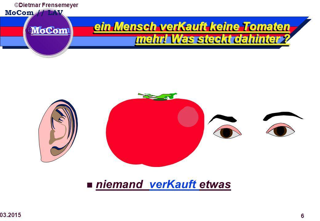  MoCom ©Dietmar Frensemeyer 29.03.2015 6 niemand verKauft etwas ein Mensch verKauft keine Tomaten mehr.