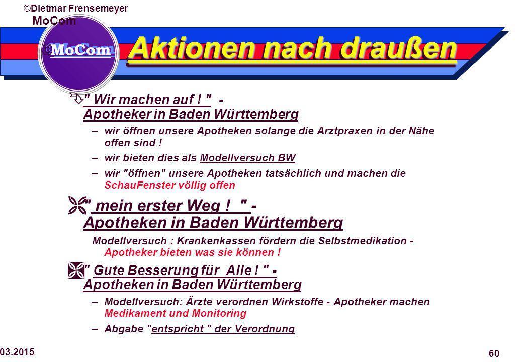  MoCom ©Dietmar Frensemeyer 29.03.2015 60 Aktionen nach draußen  Wir machen auf .