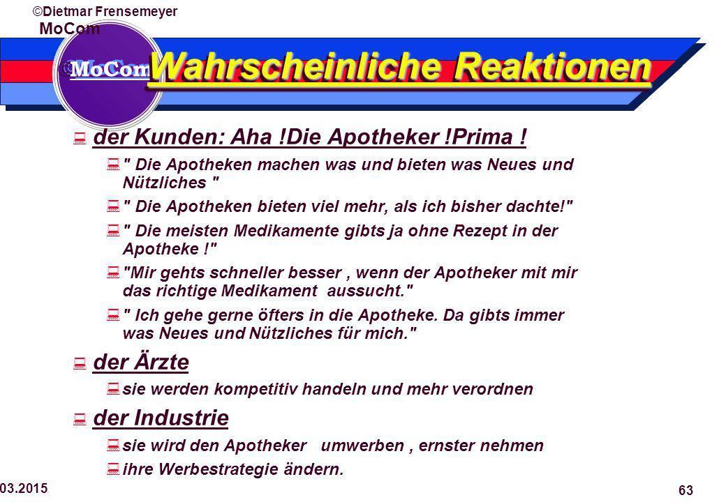  MoCom ©Dietmar Frensemeyer 29.03.2015 63 Wahrscheinliche Reaktionen  der Kunden: Aha !Die Apotheker !Prima .