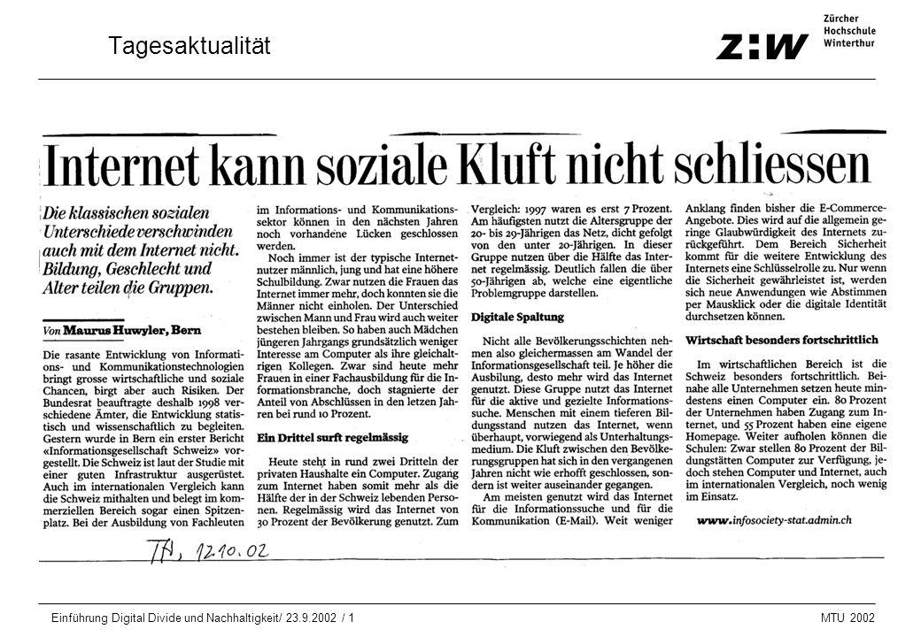 MTU 2002 Einführung Digital Divide und Nachhaltigkeit/ 23.9.2002 / 1 Tagesaktualität