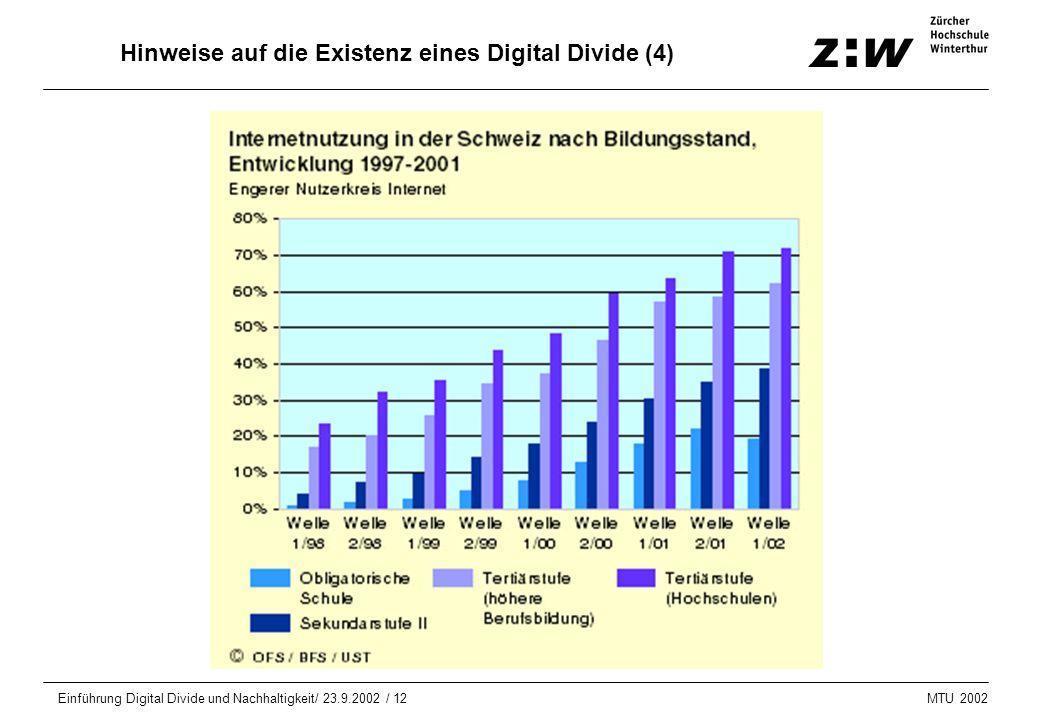 MTU 2002 Einführung Digital Divide und Nachhaltigkeit/ 23.9.2002 / 12 Hinweise auf die Existenz eines Digital Divide (4)