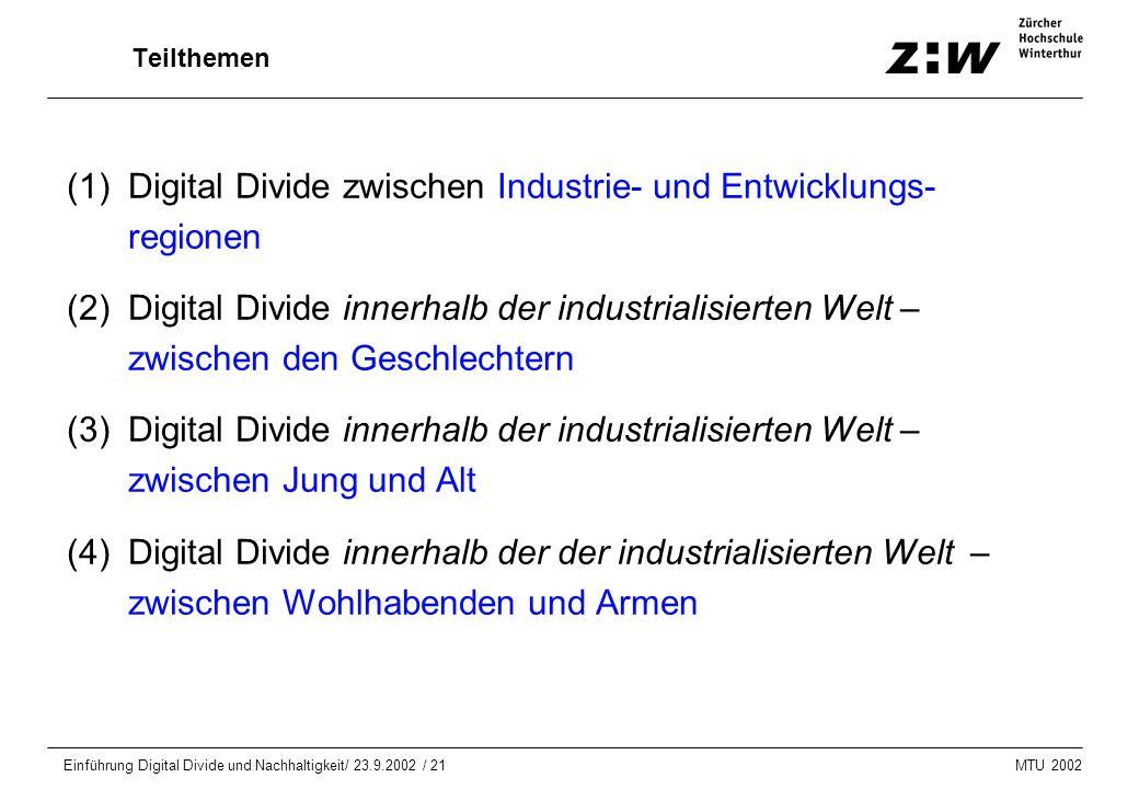 MTU 2002 Einführung Digital Divide und Nachhaltigkeit/ 23.9.2002 / 21 Teilthemen (1)Digital Divide zwischen Industrie- und Entwicklungs- regionen (2)D
