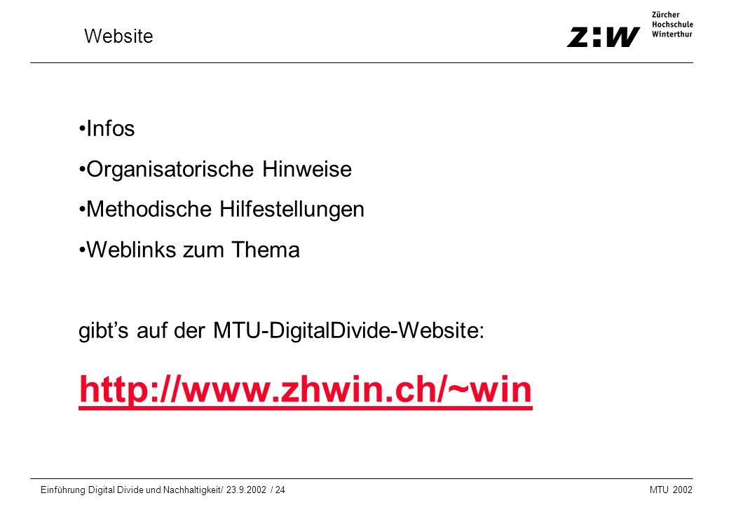MTU 2002 Einführung Digital Divide und Nachhaltigkeit/ 23.9.2002 / 24 Website Infos Organisatorische Hinweise Methodische Hilfestellungen Weblinks zum