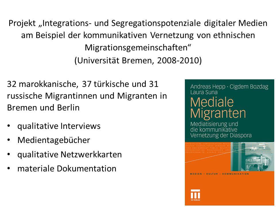 """Projekt """"Integrations- und Segregationspotenziale digitaler Medien am Beispiel der kommunikativen Vernetzung von ethnischen Migrationsgemeinschaften"""""""