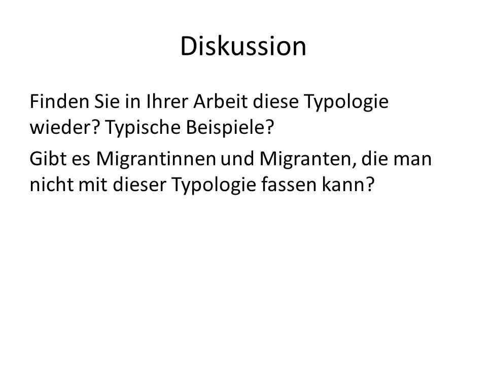 Diskussion Finden Sie in Ihrer Arbeit diese Typologie wieder? Typische Beispiele? Gibt es Migrantinnen und Migranten, die man nicht mit dieser Typolog