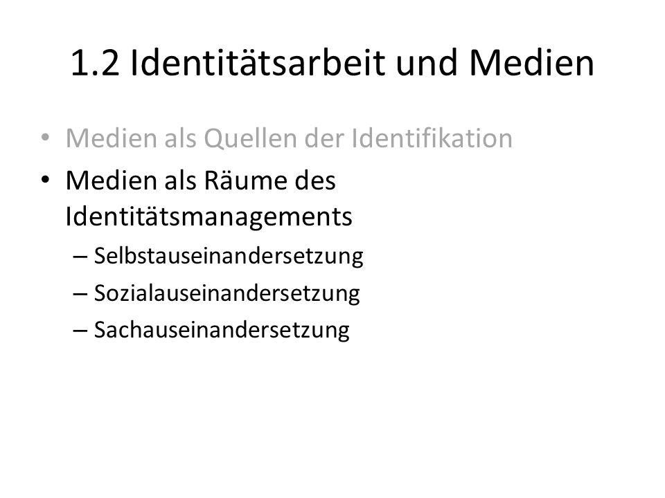 1.2 Identitätsarbeit und Medien Medien als Quellen der Identifikation Medien als Räume des Identitätsmanagements – Selbstauseinandersetzung – Sozialau