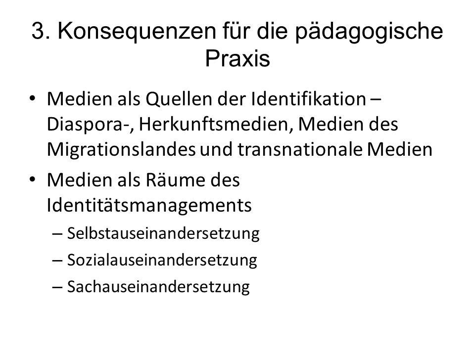 3. Konsequenzen für die pädagogische Praxis Medien als Quellen der Identifikation – Diaspora-, Herkunftsmedien, Medien des Migrationslandes und transn
