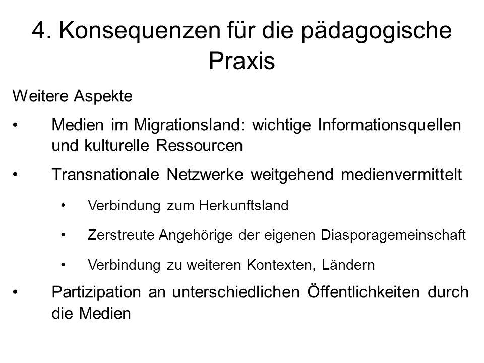 4. Konsequenzen für die pädagogische Praxis Weitere Aspekte Medien im Migrationsland: wichtige Informationsquellen und kulturelle Ressourcen Transnati