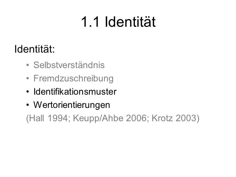 1.1 Identität Identität: Selbstverständnis Fremdzuschreibung Identifikationsmuster Wertorientierungen (Hall 1994; Keupp/Ahbe 2006; Krotz 2003)