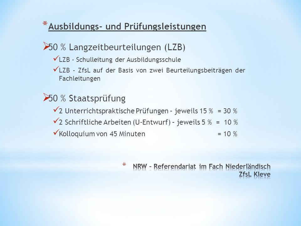 * Ausbildungs- und Prüfungsleistungen  50 % Langzeitbeurteilungen (LZB) LZB - Schulleitung der Ausbildungsschule LZB - ZfsL auf der Basis von zwei Be