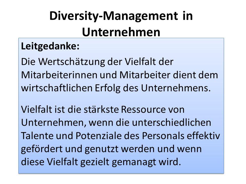 Diversity-Management in Unternehmen Leitgedanke: Die Wertschätzung der Vielfalt der Mitarbeiterinnen und Mitarbeiter dient dem wirtschaftlichen Erfolg des Unternehmens.