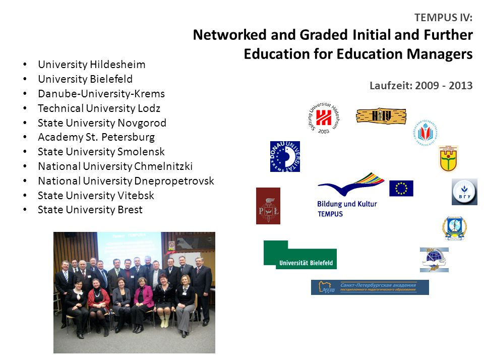 TEMPUS IV: Networked and Graded Initial and Further Education for Education Managers Laufzeit: University Hildesheim University Bielefeld Danube-University-Krems Technical University Lodz State University Novgorod Academy St.