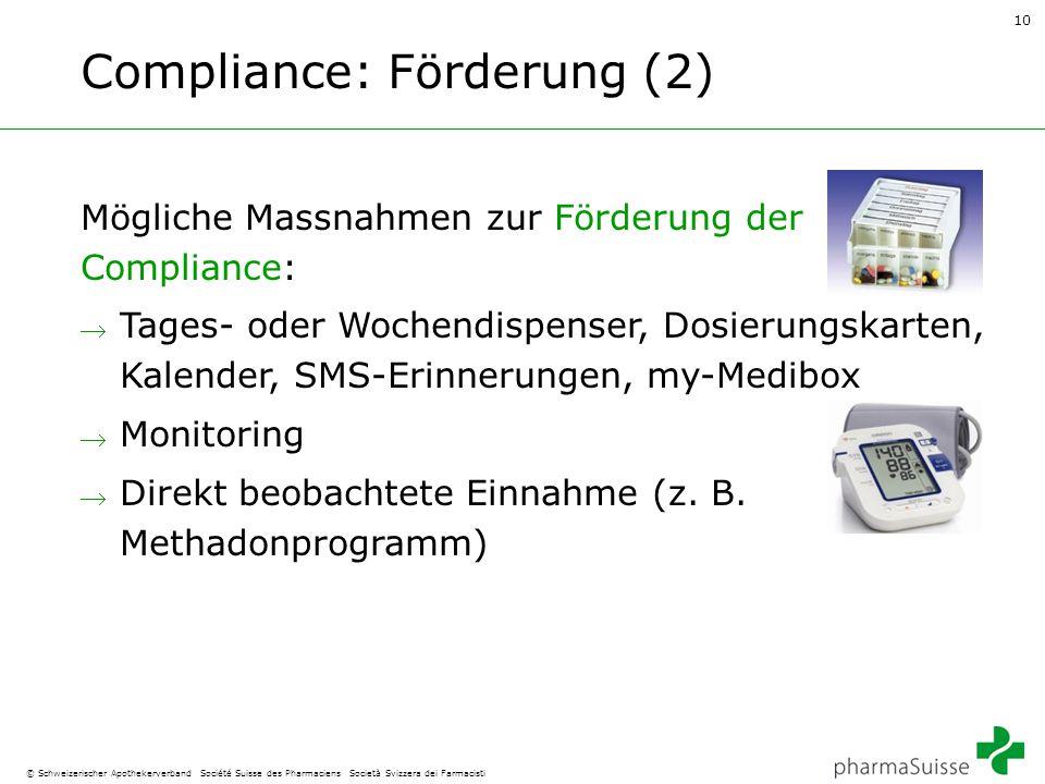 10 © Schweizerischer Apothekerverband Société Suisse des Pharmaciens Società Svizzera dei Farmacisti Compliance: Förderung (2) Mögliche Massnahmen zur