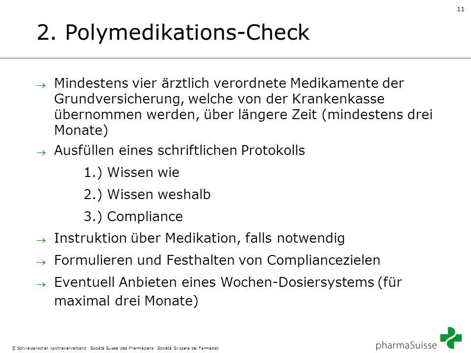 11 © Schweizerischer Apothekerverband Société Suisse des Pharmaciens Società Svizzera dei Farmacisti 2. Polymedikations-Check  Mindestens vier ärztli