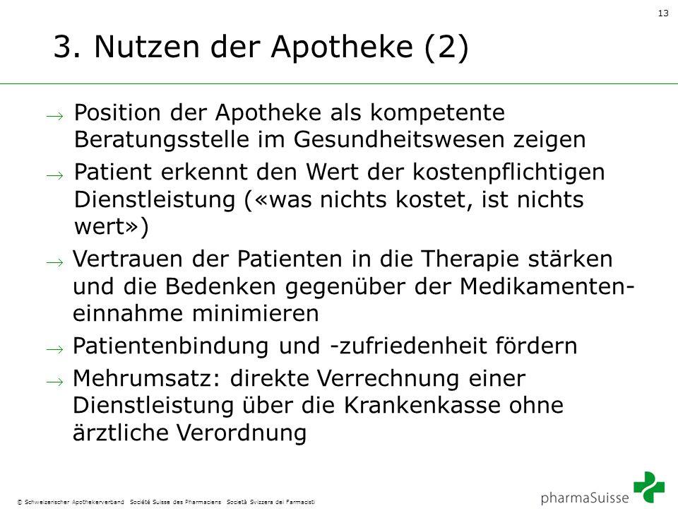 13 © Schweizerischer Apothekerverband Société Suisse des Pharmaciens Società Svizzera dei Farmacisti 3. Nutzen der Apotheke (2)  Position der Apothek