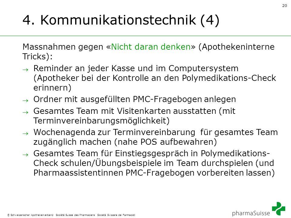 20 © Schweizerischer Apothekerverband Société Suisse des Pharmaciens Società Svizzera dei Farmacisti 4. Kommunikationstechnik (4) Massnahmen gegen «Ni