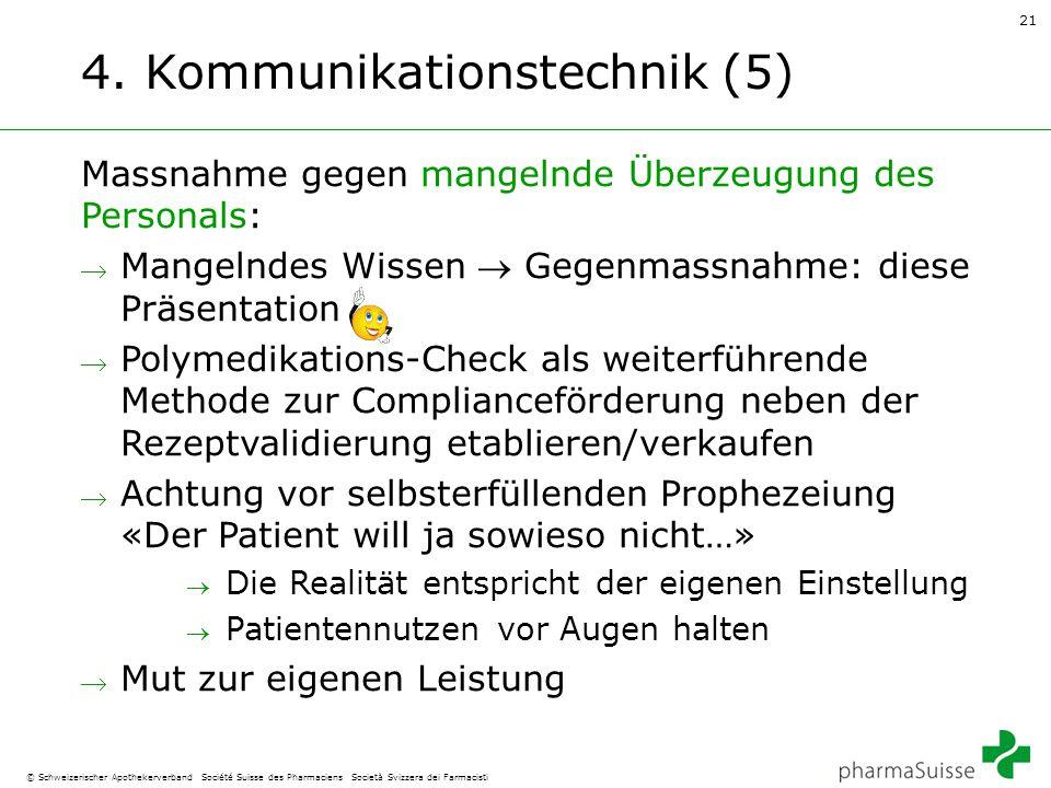21 © Schweizerischer Apothekerverband Société Suisse des Pharmaciens Società Svizzera dei Farmacisti 4. Kommunikationstechnik (5) Massnahme gegen mang