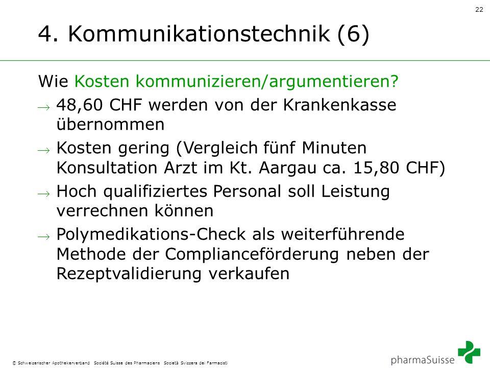 22 © Schweizerischer Apothekerverband Société Suisse des Pharmaciens Società Svizzera dei Farmacisti 4. Kommunikationstechnik (6) Wie Kosten kommunizi