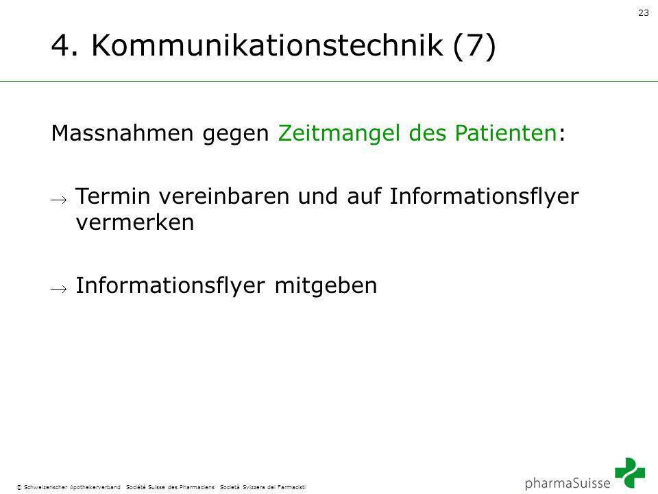 23 © Schweizerischer Apothekerverband Société Suisse des Pharmaciens Società Svizzera dei Farmacisti 4. Kommunikationstechnik (7) Massnahmen gegen Zei