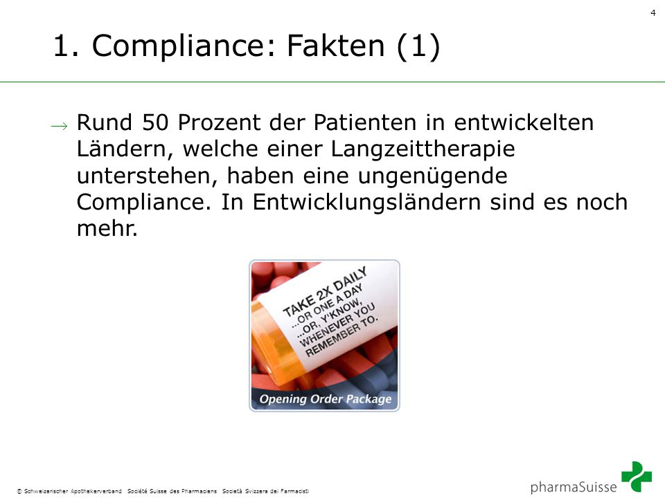 4 © Schweizerischer Apothekerverband Société Suisse des Pharmaciens Società Svizzera dei Farmacisti 1. Compliance: Fakten (1)  Rund 50 Prozent der Pa