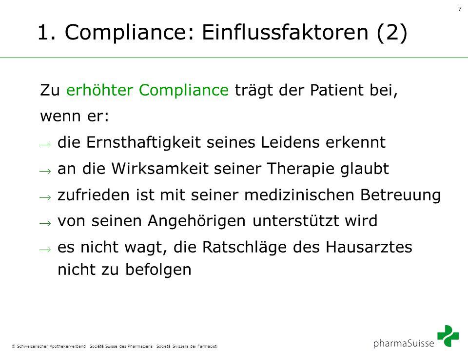 7 © Schweizerischer Apothekerverband Société Suisse des Pharmaciens Società Svizzera dei Farmacisti 1. Compliance: Einflussfaktoren (2) Zu erhöhter Co