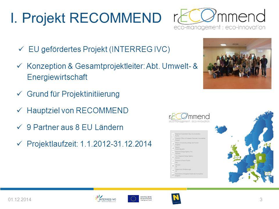 I. Projekt RECOMMEND EU gefördertes Projekt (INTERREG IVC) Konzeption & Gesamtprojektleiter: Abt. Umwelt- & Energiewirtschaft Grund für Projektinitiie