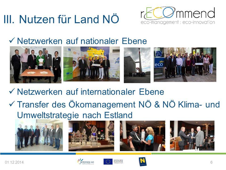III. Nutzen für Land NÖ 601.12.2014 Netzwerken auf nationaler Ebene Netzwerken auf internationaler Ebene Transfer des Ökomanagement NÖ & NÖ Klima- und