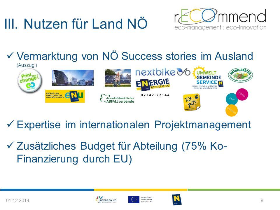 III. Nutzen für Land NÖ 801.12.2014 Vermarktung von NÖ Success stories im Ausland (Auszug:) Expertise im internationalen Projektmanagement Zusätzliche