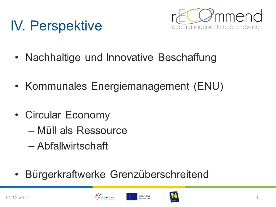 IV. Perspektive 9 Nachhaltige und Innovative Beschaffung Kommunales Energiemanagement (ENU) Circular Economy –Müll als Ressource –Abfallwirtschaft Bür