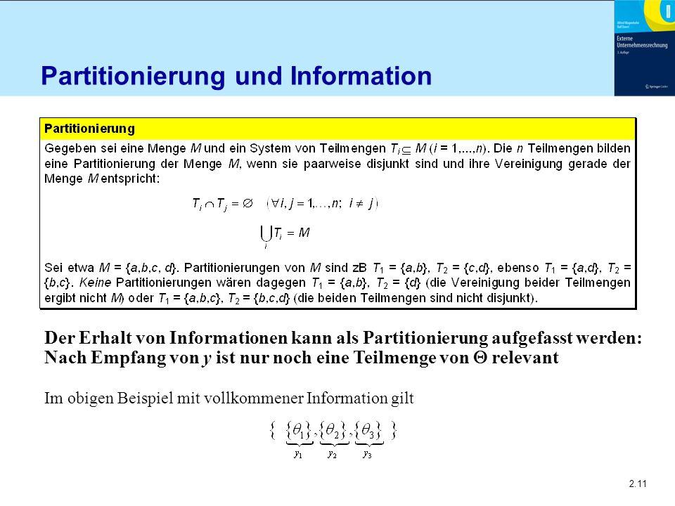 2.11 Partitionierung und Information Der Erhalt von Informationen kann als Partitionierung aufgefasst werden: Nach Empfang von y ist nur noch eine Teilmenge von  relevant Im obigen Beispiel mit vollkommener Information gilt