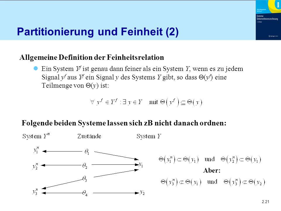 2.21 Partitionierung und Feinheit (2) Allgemeine Definition der Feinheitsrelation Ein System Y f ist genau dann feiner als ein System Y, wenn es zu jedem Signal y f aus Y f ein Signal y des Systems Y gibt, so dass  (y f ) eine Teilmenge von  (y) ist: Folgende beiden Systeme lassen sich zB nicht danach ordnen: Aber: