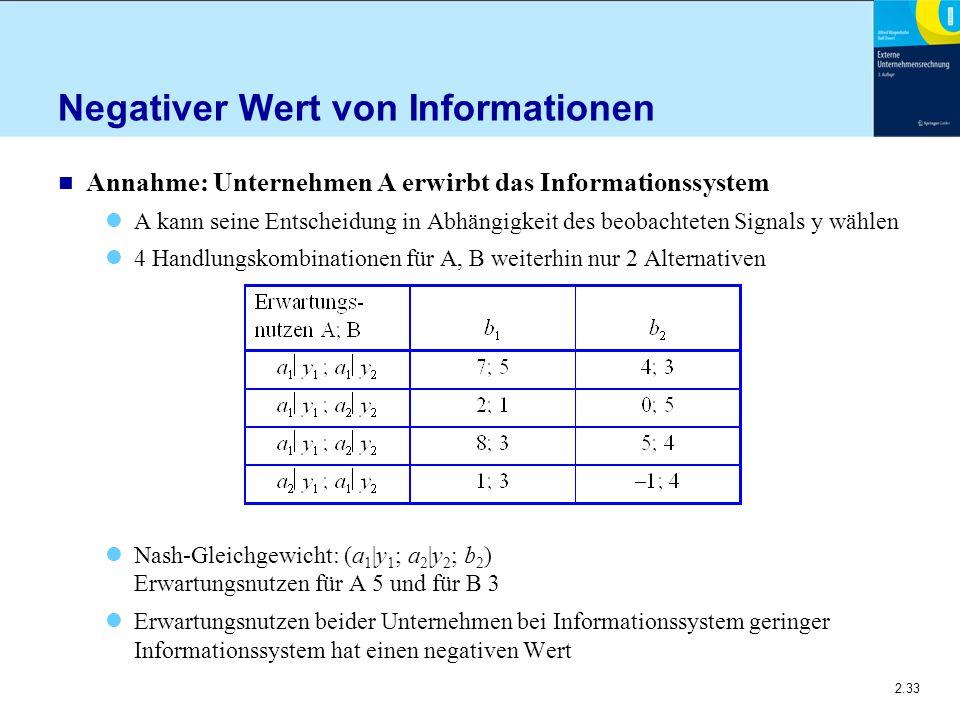 2.33 Negativer Wert von Informationen n Annahme: Unternehmen A erwirbt das Informationssystem A kann seine Entscheidung in Abhängigkeit des beobachteten Signals y wählen 4 Handlungskombinationen für A, B weiterhin nur 2 Alternativen Nash-Gleichgewicht: (a 1 |y 1 ; a 2 |y 2 ; b 2 ) Erwartungsnutzen für A 5 und für B 3 Erwartungsnutzen beider Unternehmen bei Informationssystem geringer Informationssystem hat einen negativen Wert