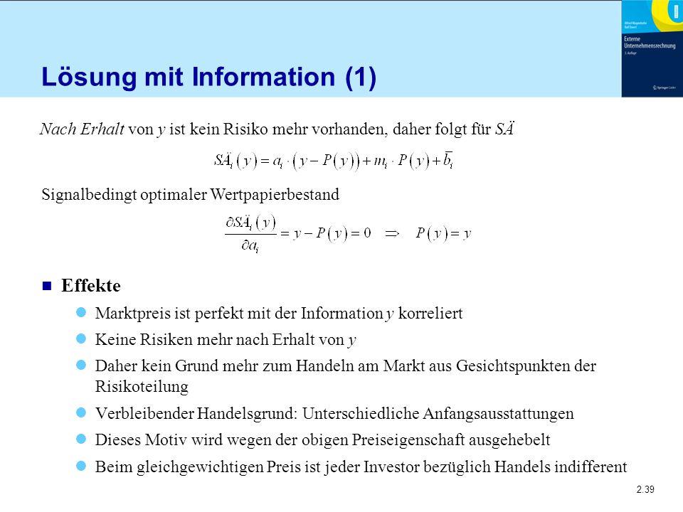 2.39 Lösung mit Information (1) n Effekte Marktpreis ist perfekt mit der Information y korreliert Keine Risiken mehr nach Erhalt von y Daher kein Grun