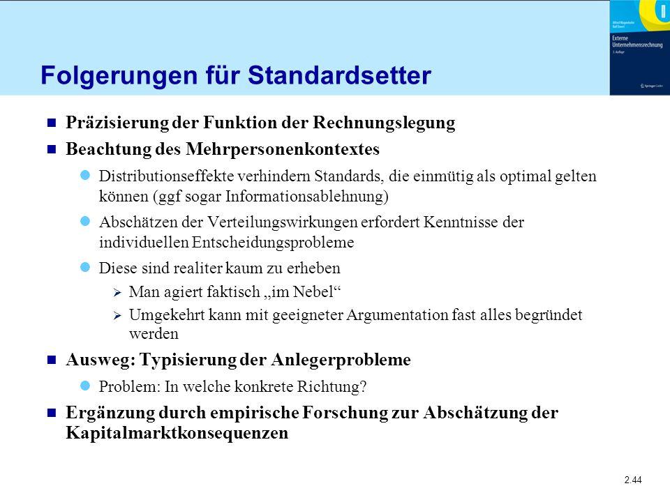 2.44 Folgerungen für Standardsetter n Präzisierung der Funktion der Rechnungslegung n Beachtung des Mehrpersonenkontextes Distributionseffekte verhind