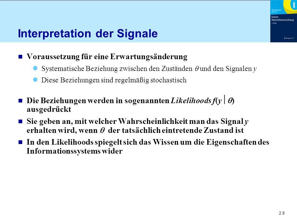 2.8 Interpretation der Signale n Voraussetzung für eine Erwartungsänderung Systematische Beziehung zwischen den Zuständen  und den Signalen y Diese B