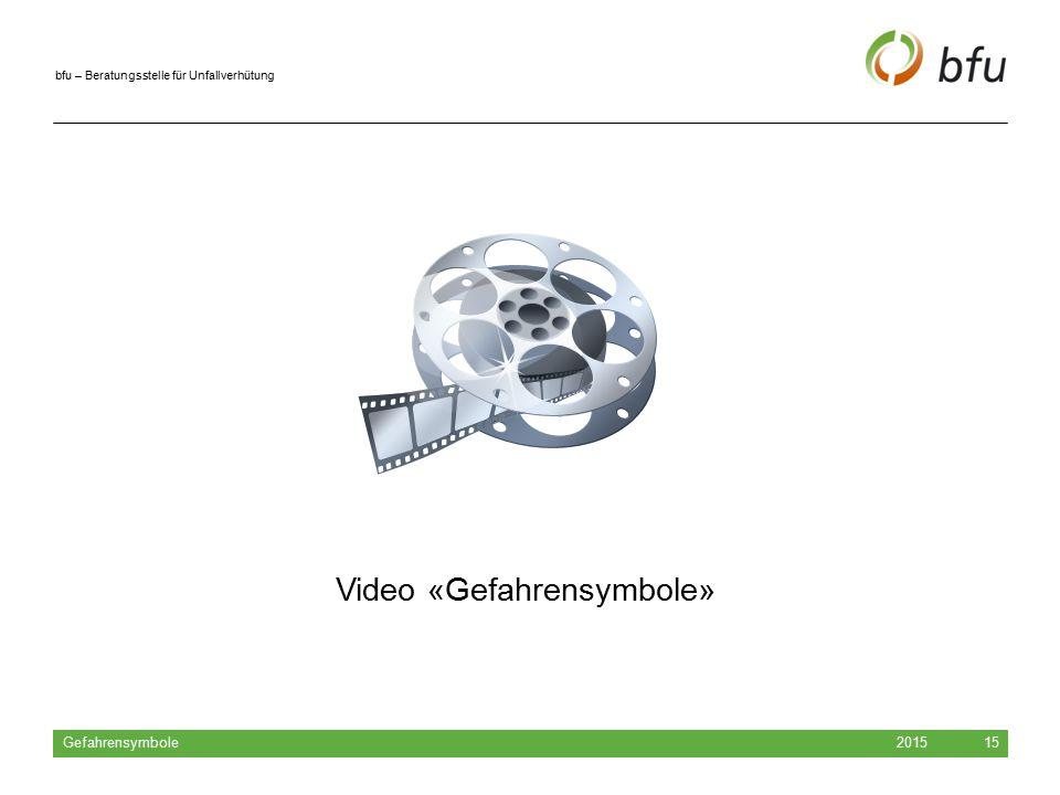 bfu – Beratungsstelle für Unfallverhütung 2015 Gefahrensymbole 15 Video «Gefahrensymbole»