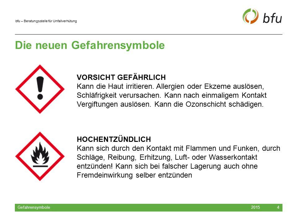 bfu – Beratungsstelle für Unfallverhütung Die neuen Gefahrensymbole 2015 Gefahrensymbole 4 HOCHENTZÜNDLICH Kann sich durch den Kontakt mit Flammen und