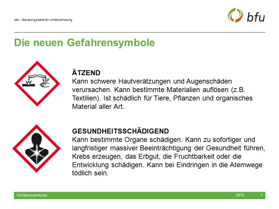 bfu – Beratungsstelle für Unfallverhütung Die neuen Gefahrensymbole 2015 Gefahrensymbole 8 HOCHGIFTIG Kann schon in kleinen Mengen zu schweren Vergiftungen und zum Tod führen.