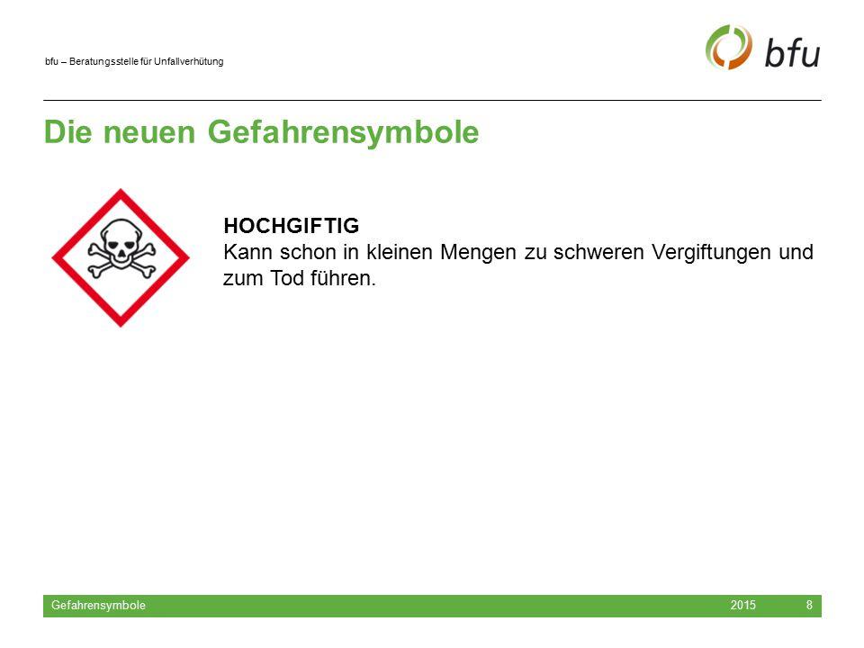 bfu – Beratungsstelle für Unfallverhütung Die neuen Gefahrensymbole 2015 Gefahrensymbole 8 HOCHGIFTIG Kann schon in kleinen Mengen zu schweren Vergift