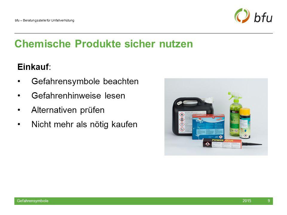 bfu – Beratungsstelle für Unfallverhütung Chemische Produkte sicher nutzen 2015 Gefahrensymbole 9 Einkauf: Gefahrensymbole beachten Gefahrenhinweise l