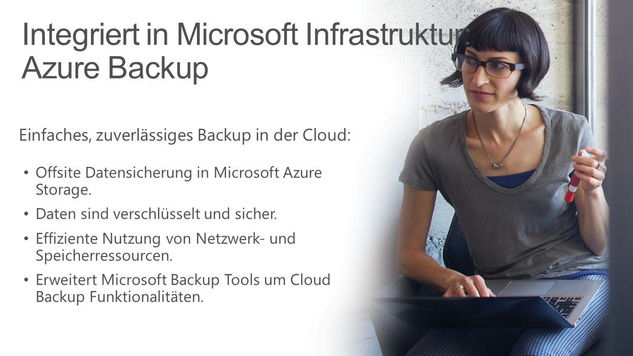 Integriert in Microsoft Infrastruktur: Azure Backup Microsoft Confidential Einfaches, zuverlässiges Backup in der Cloud: Offsite Datensicherung in Mic