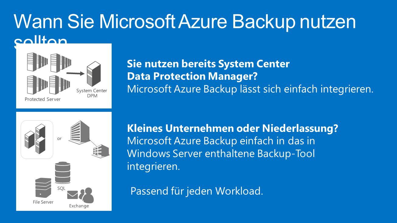 Wann Sie Microsoft Azure Backup nutzen sollten Passend für jeden Workload. Sie nutzen bereits System Center Data Protection Manager? Microsoft Azure B