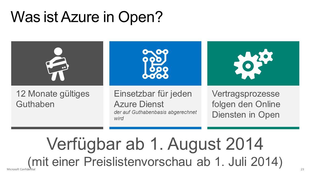 Was ist Azure in Open? 12 Monate gültiges Guthaben Einsetzbar für jeden Azure Dienst der auf Guthabenbasis abgerechnet wird Vertragsprozesse folgen de