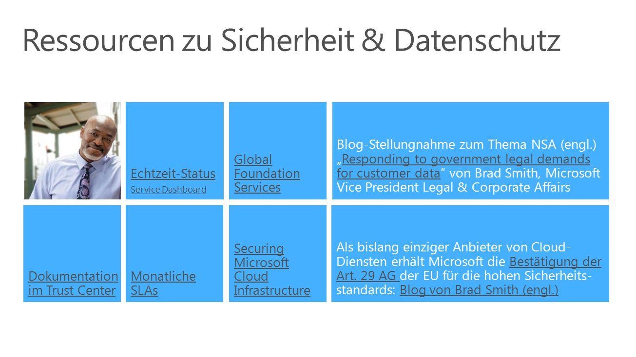 Ressourcen zu Sicherheit & Datenschutz Monatliche SLAs Echtzeit-Status Service Dashboard Securing Microsoft Cloud Infrastructure Dokumentation im Trus