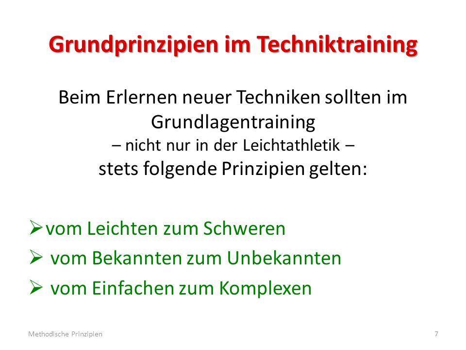 Grundprinzipien im Techniktraining Beim Erlernen neuer Techniken sollten im Grundlagentraining – nicht nur in der Leichtathletik – stets folgende Prinzipien gelten:  vom Leichten zum Schweren  vom Bekannten zum Unbekannten  vom Einfachen zum Komplexen Methodische Prinzipien7