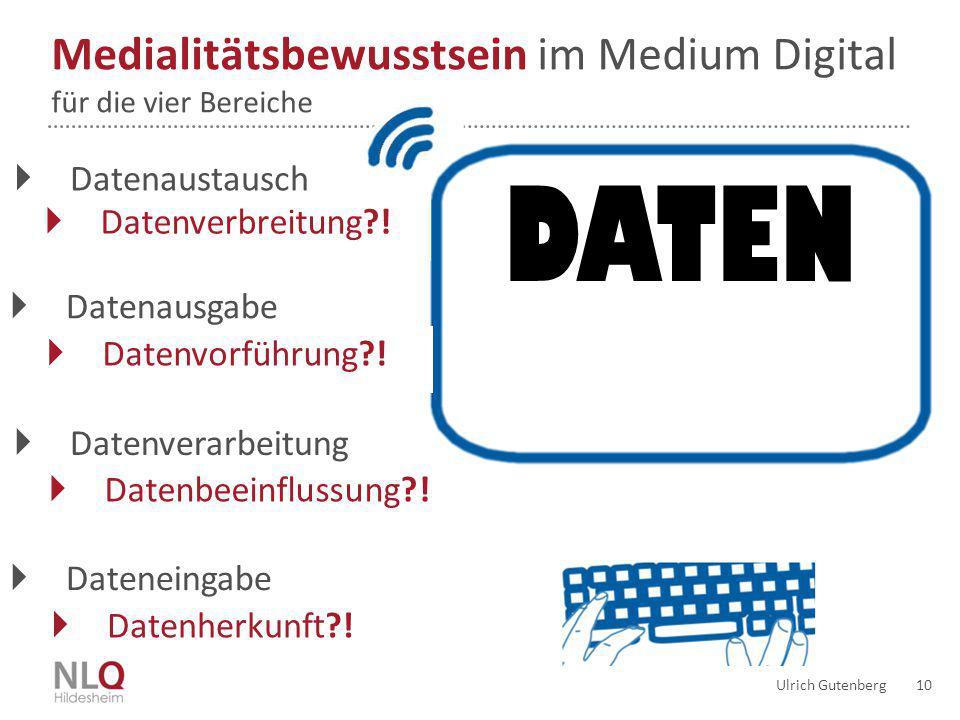 Ulrich Gutenberg 10 DATEN Medialitätsbewusstsein im Medium Digital für die vier Bereiche  Datenausgabe  Datenvorführung?!  Dateneingabe  Datenvera